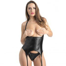 Lovehoney Fierce Wet Look Underbust Bustier Set