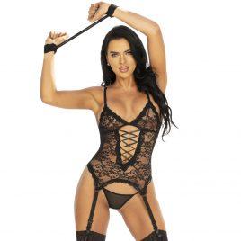 Seven 'til Midnight Midnight Affair Black Lace Bustier Set