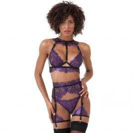 Lovehoney Lustre Purple Metallic Lace Bra Set